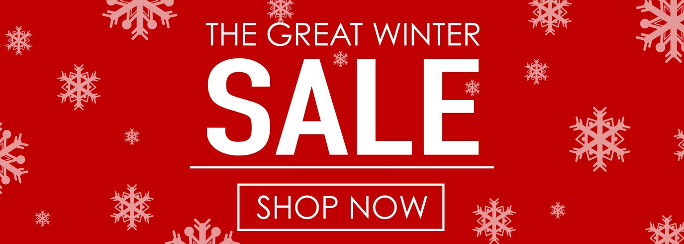 Winter sale with snowflakes on red background
