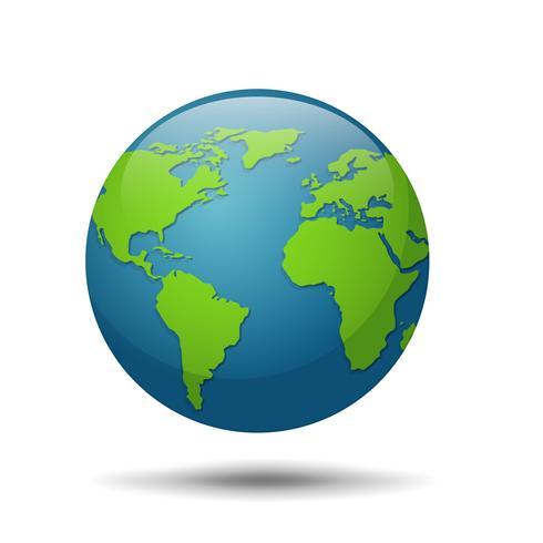 Earth Globe och världskarta isolerad på vit bakgrund.