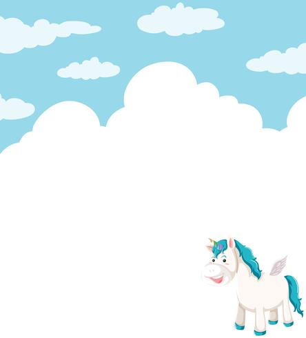 Unicorn cloud backgroun frame