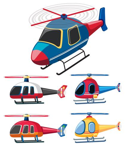 Five different designs of helicopters