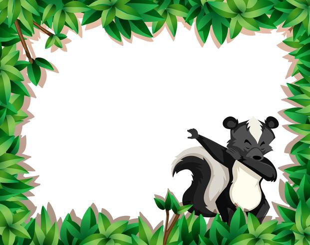 Skunk on nature border