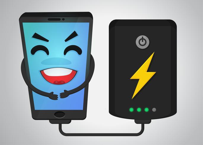 Dibujos animados feliz teléfono móvil porque recibir electricidad de batería powerbank. vector