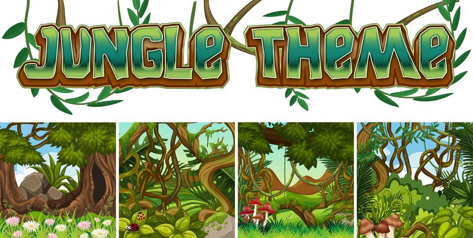 Set of jungle theme