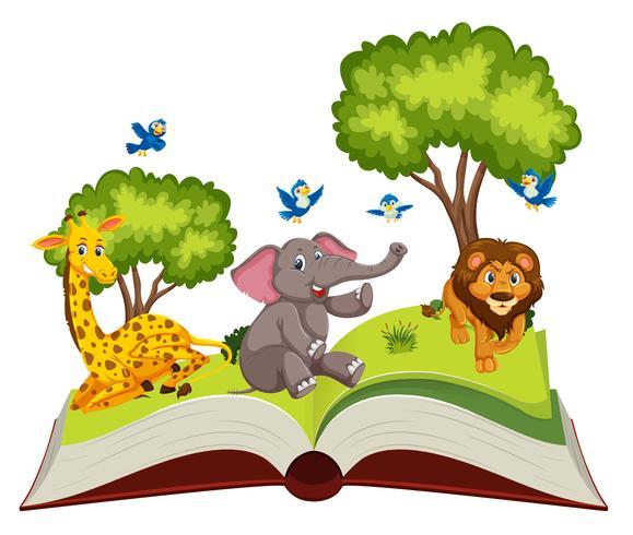 Wild animals on open book