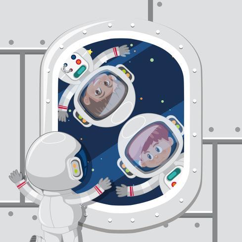 Children astronauts in space