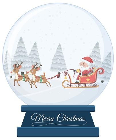 Boule de cristal de Noël sur fond blanc