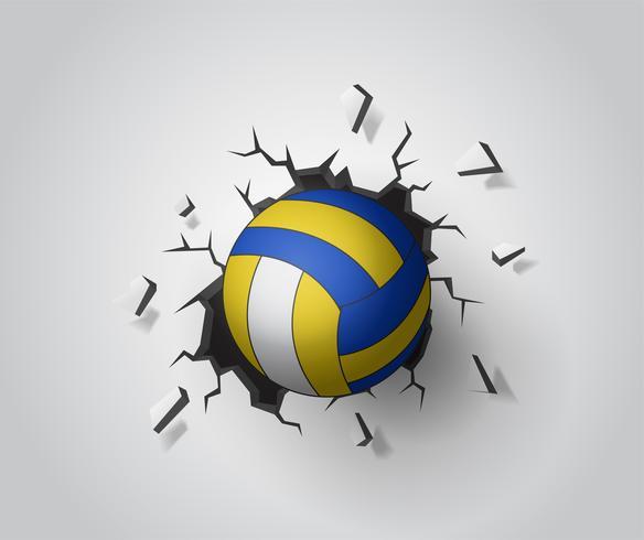 Volleybal op de muur gebroken. Illustratie Vector EPS10.