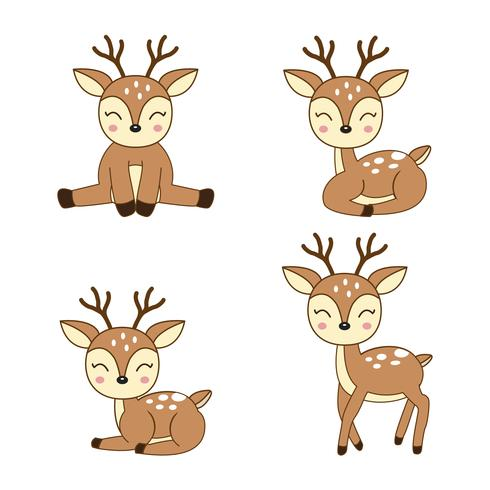 Schattige herten cartoon in verschillende poses.