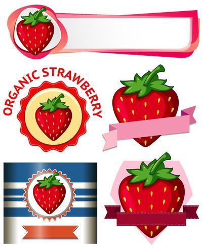 Banner di fragole su sfondo bianco