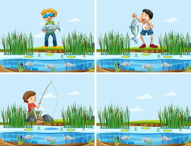 Ensemble de personnes attrapant un poisson
