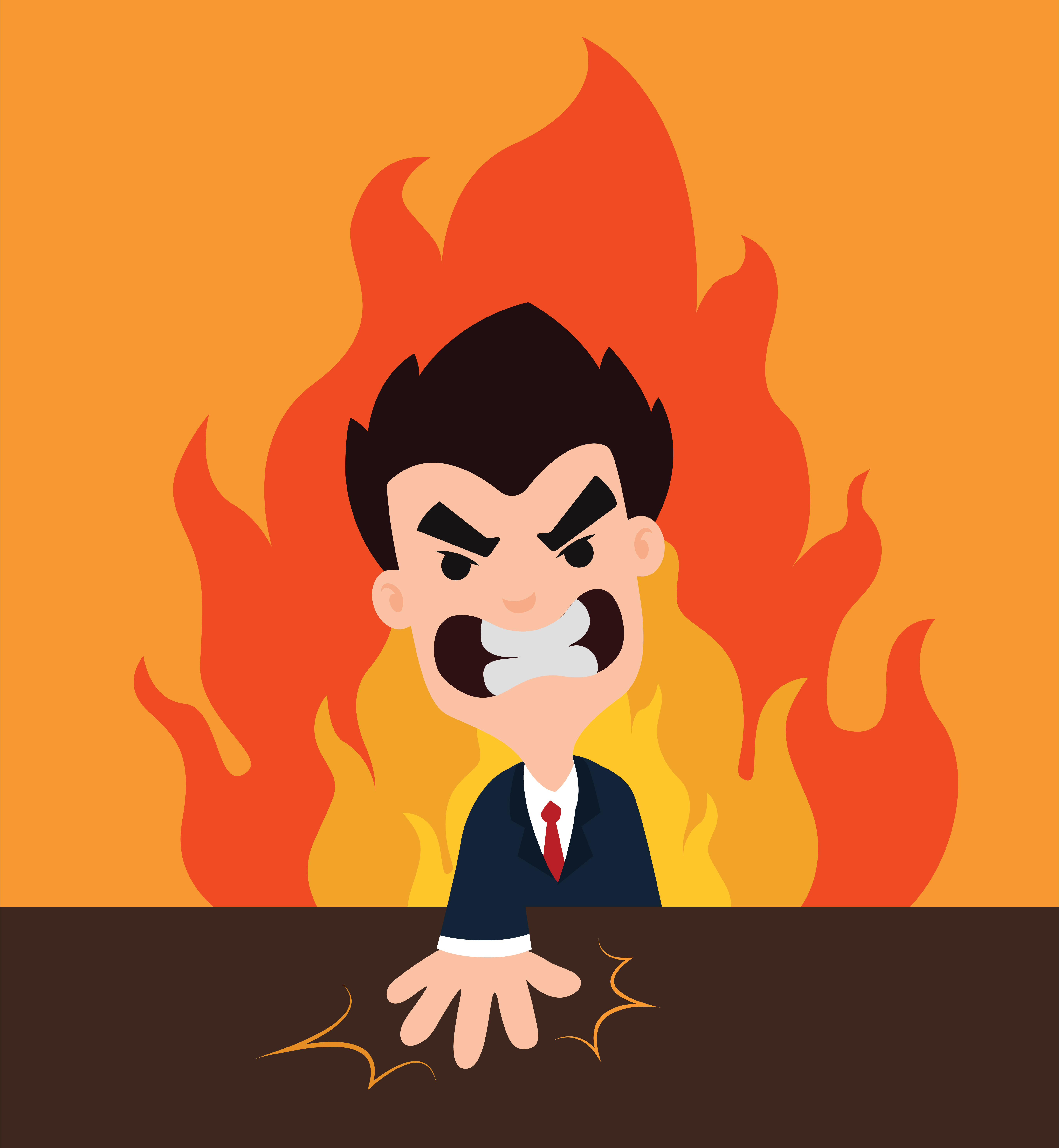 Angry Boss Cartoon Smash The Table Showing Anger With An