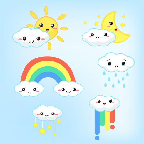 Väderprognos Kawaii tecknad regnbåge moln, sol och måne som ser söta och färgglada ut.