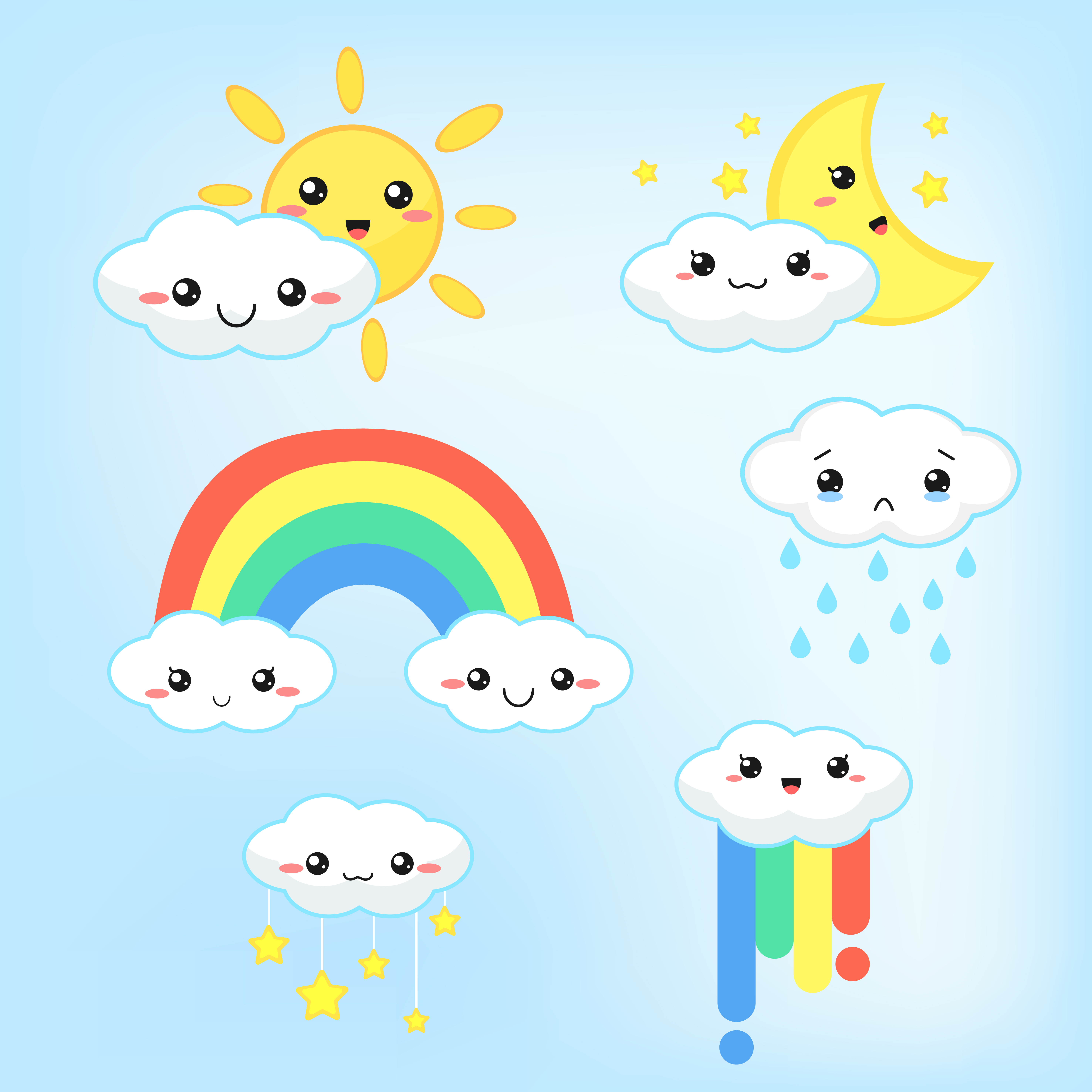 Weather Forecast Kawaii Cartoon Rainbow Clouds Sun And