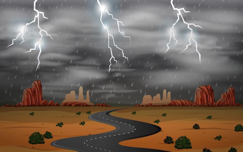 Onweersbui bij woestijnlandschap