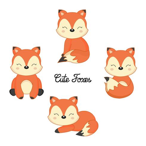 Set of Cute little foxes in cartoon style.