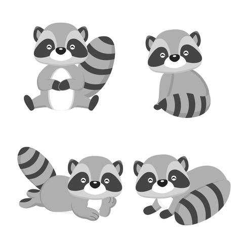 cute raccoons in different pose. Vector illustration.