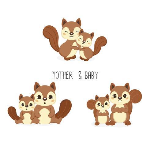 Eekhoorn mama en baby. Vector illustratie.