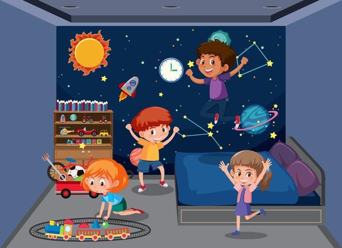Children playing in bedroom