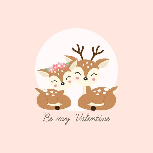 Happy valentines day greeting card. Couple deer fall in love.