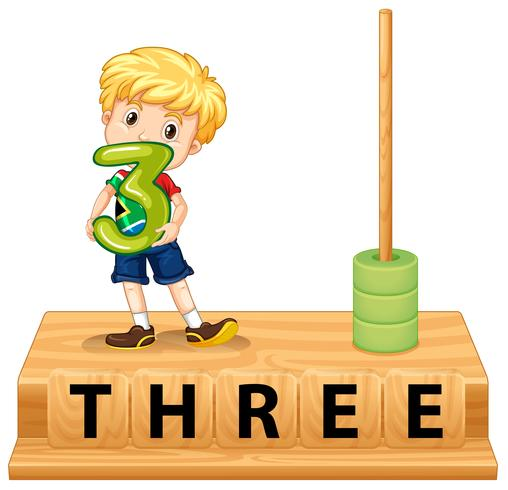 Math abacus number three vector