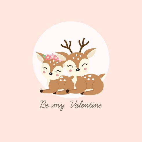 Happy Valentijnsdag wenskaart. Paar herten verliefd worden.