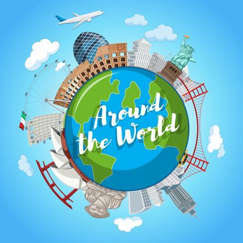Around the world landmark scene