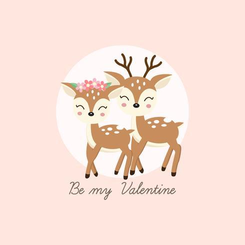 Tarjeta de felicitación feliz del día de tarjetas del día de San Valentín. Pareja de ciervos se enamoran.