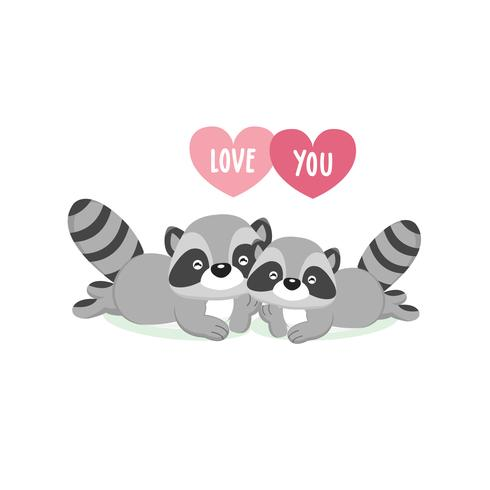 Happy Valentine's Day greeting card with cute couple raccoons in love.