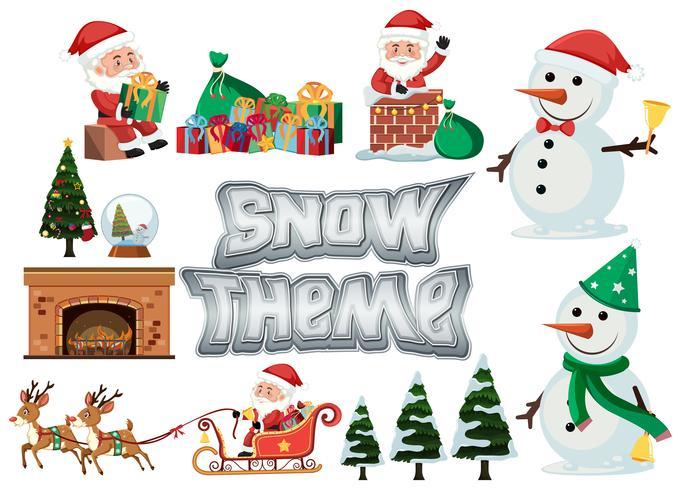 Conjunto de tema de nieve y navidad.