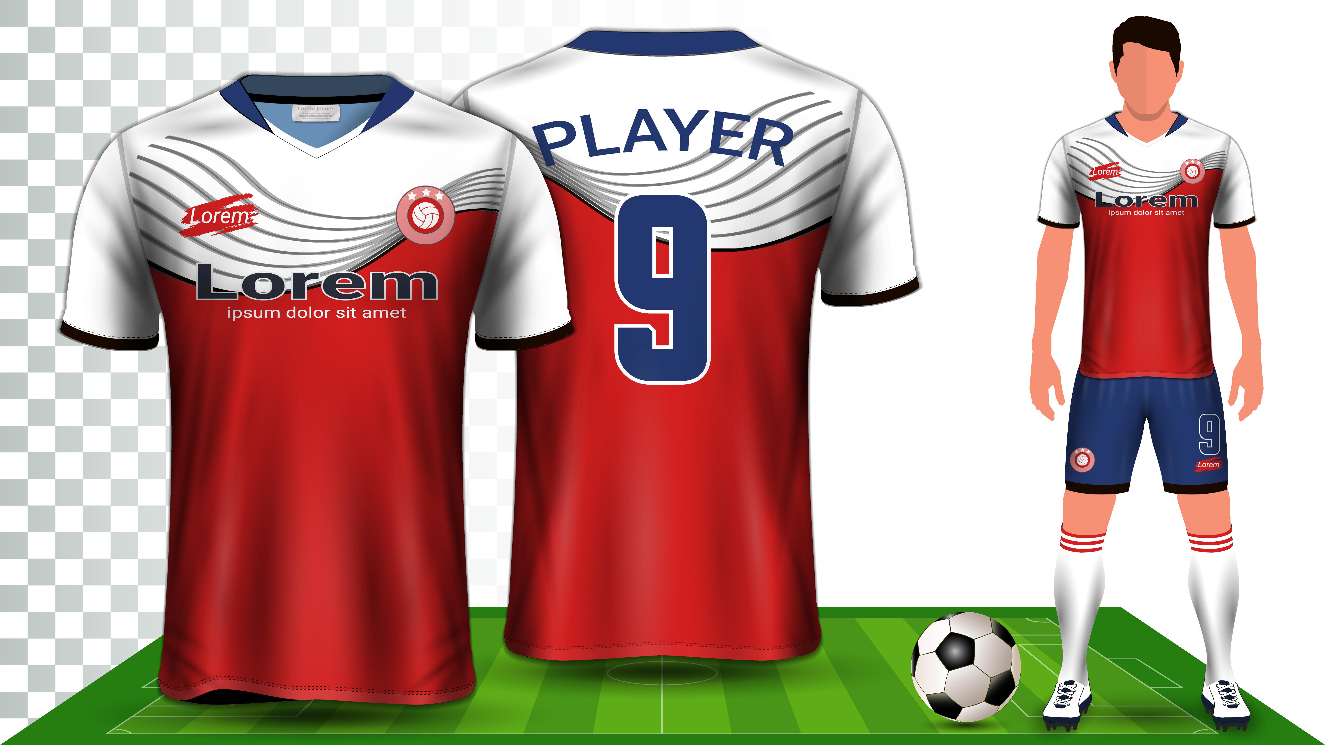 soccer jersey sport shirt or football kit uniform presentation mockup template vector
