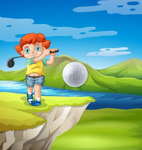 Menino, golfing, em, natureza