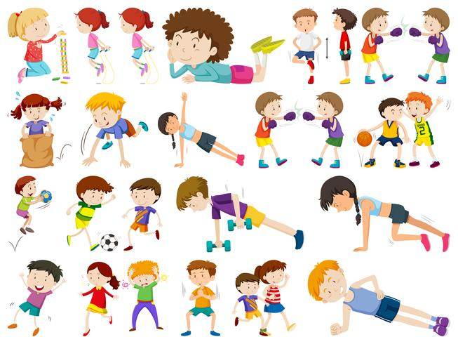 Set of different active people