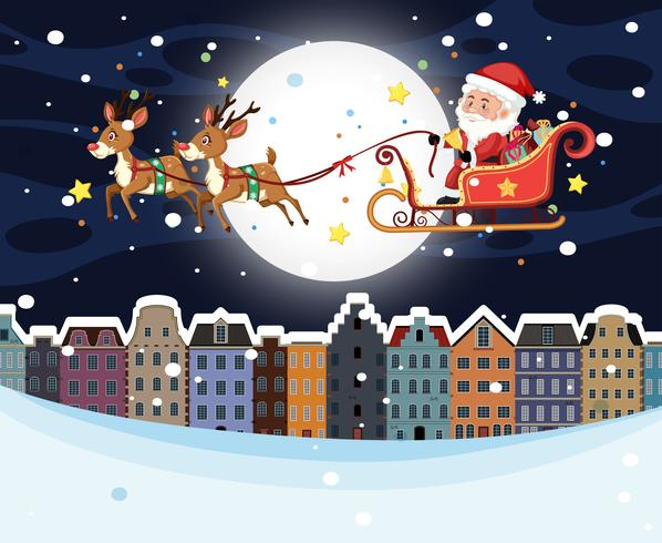 Santa riding sleigh over town vector