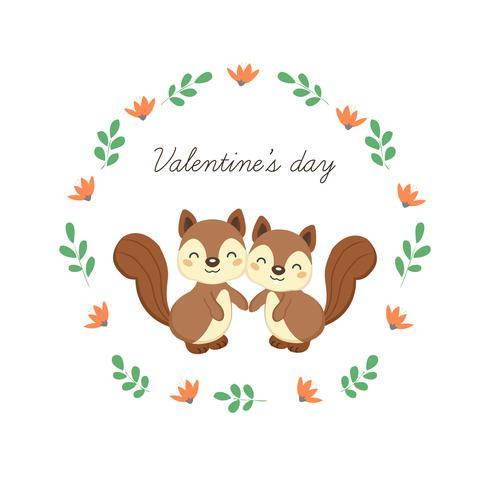 Tarjeta de felicitación feliz del día de tarjeta del día de San Valentín con las ardillas lindas en amor. vector