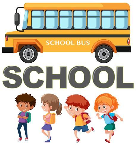 Student Charakter mit Schulbus