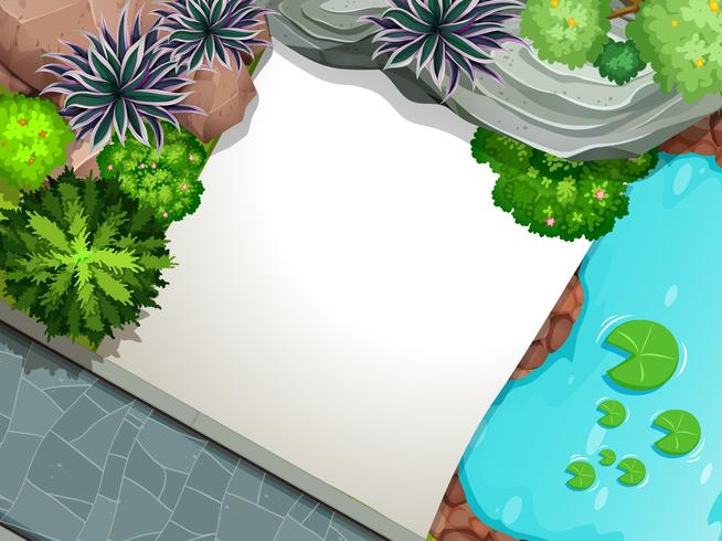 Uma vista aérea do modelo de jardim
