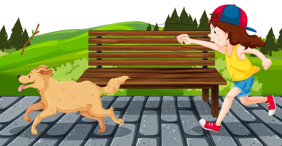 Menina, com, cão, parque