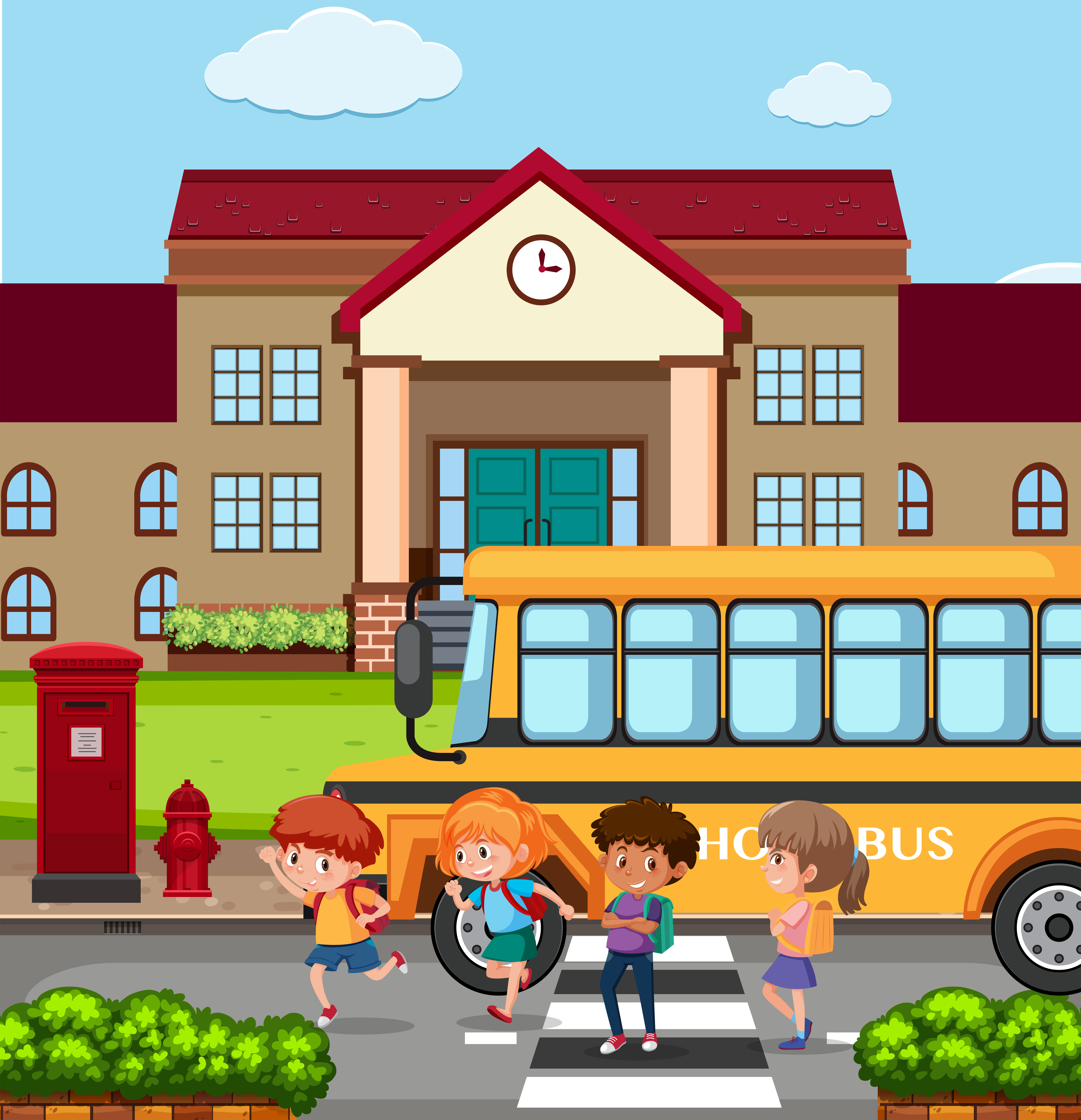 Kids outside a school - Download Free Vectors, Clipart ...