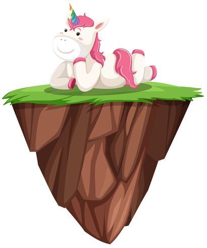 Cute pink unicorn on floating island