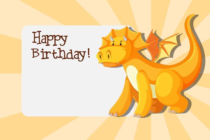 Dragon en plantilla de cumpleaños