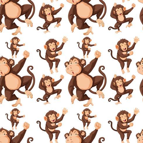 Monkey on seamless pattern background