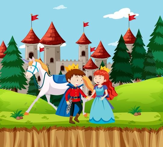 Prinses en prins in het kasteel
