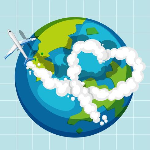 Een vliegtuig vliegt over de hele wereld
