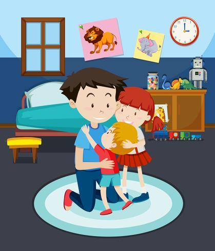Dad and children in bedroom