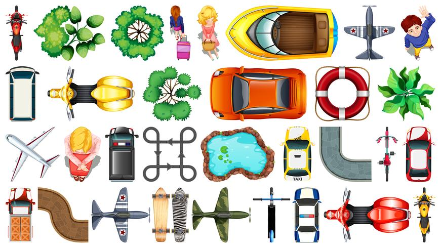 Set of various object  top view vector