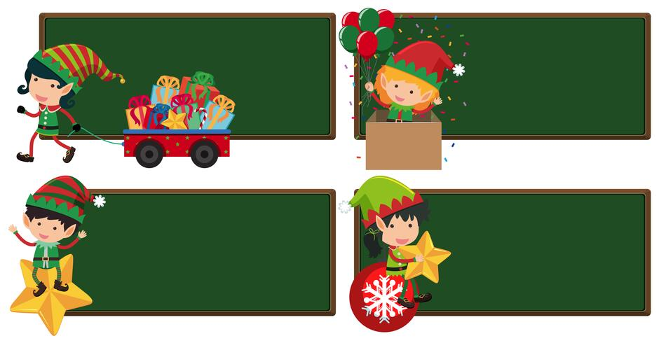 Four board template with christmas eleves