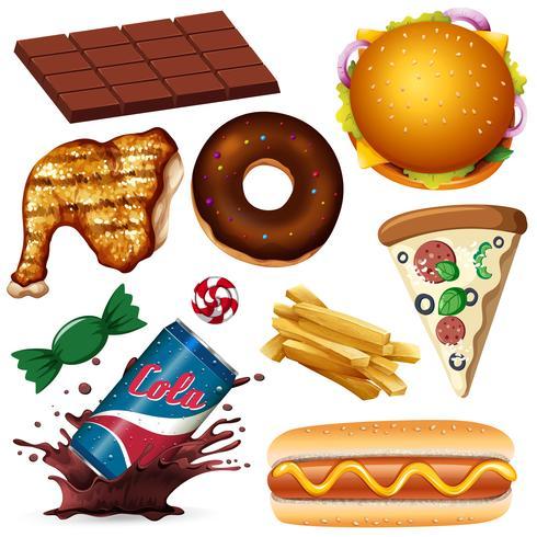 A Set of Unhealthy Food vector