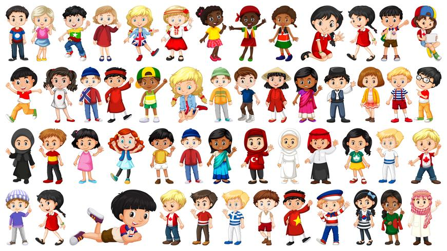 Set of multicultural kids character vector