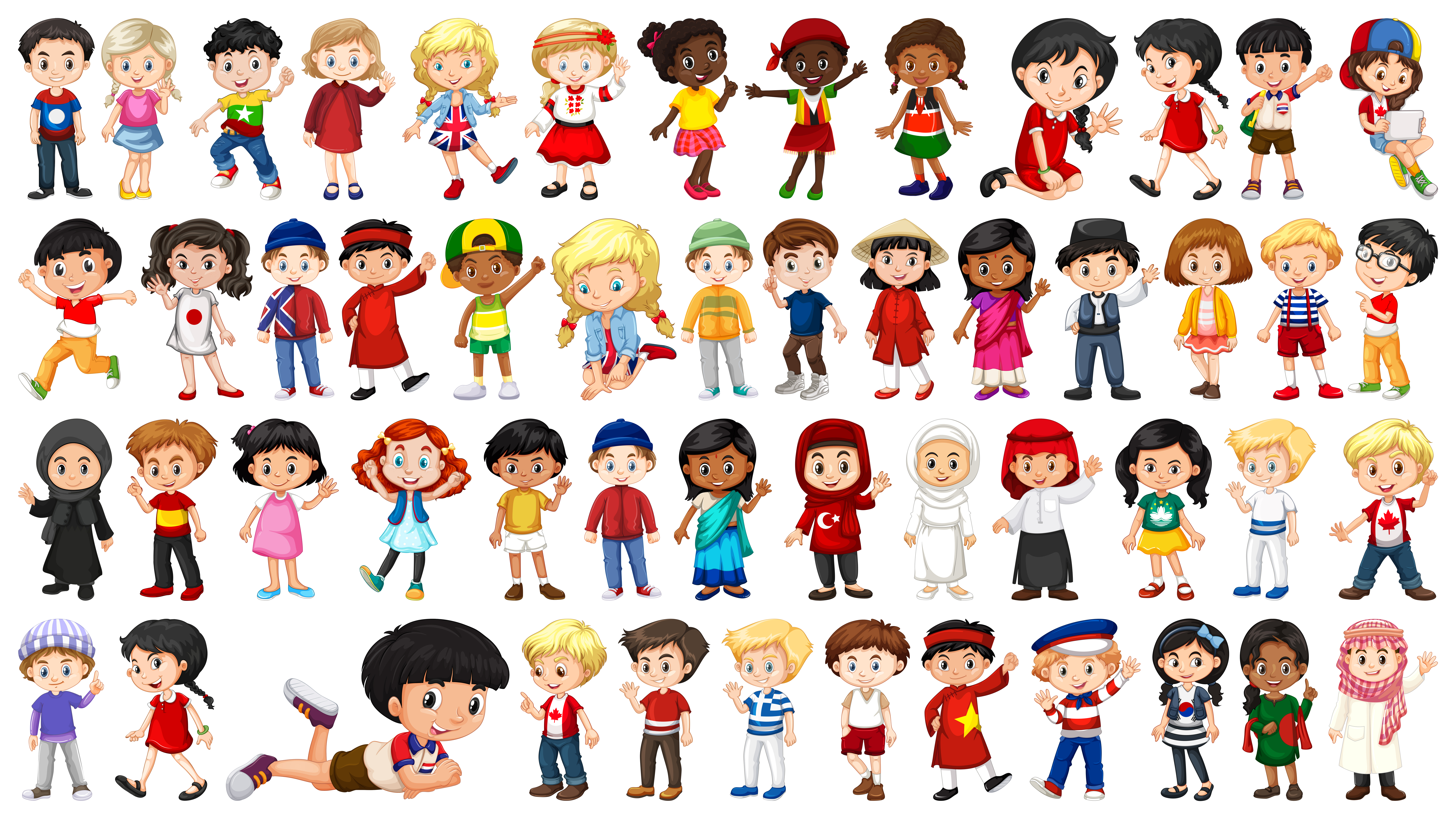Set of multicultural kids character - Download Free ...