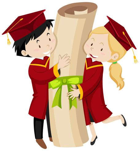 Two graduated students holding giant degree